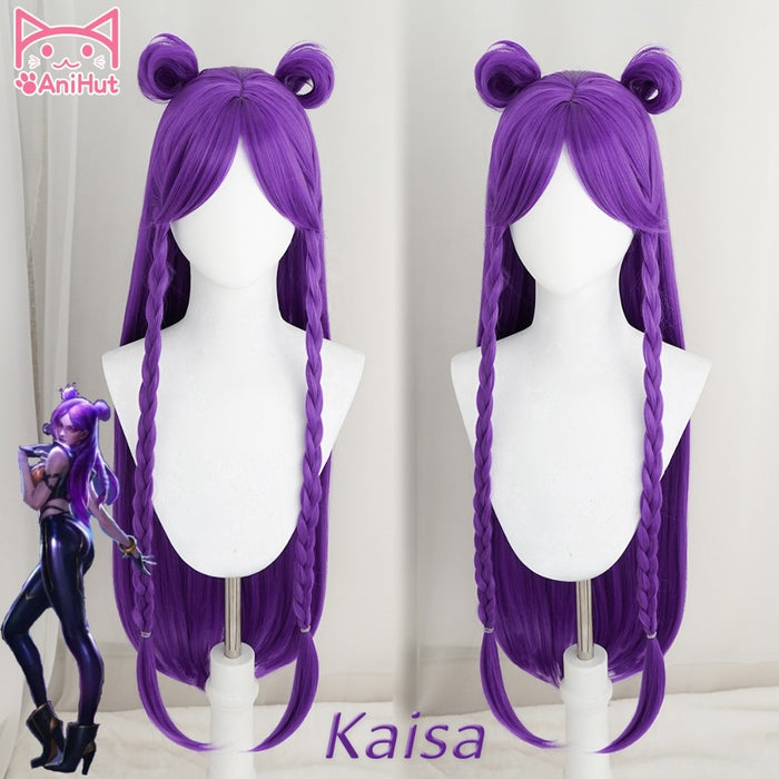 Long Straight Wig KDA POP/STAR Kaisa Purple Two Pigtail LOL KPOP