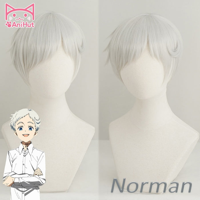 Norman Yakusoku no Neverland Short Straight Wig Silvery White 22194 The Promised Neverland