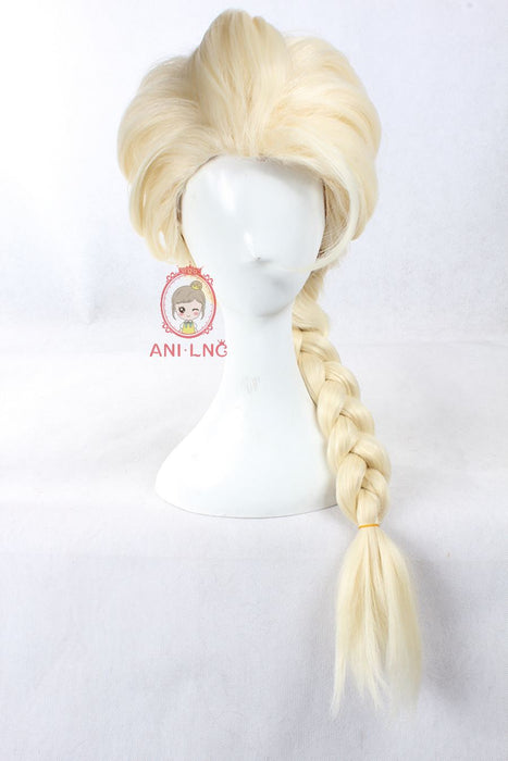 Anilnc Frozen Princess Elsa Cosplay Long Wig Blonde Pigtail Hair Wig For Women