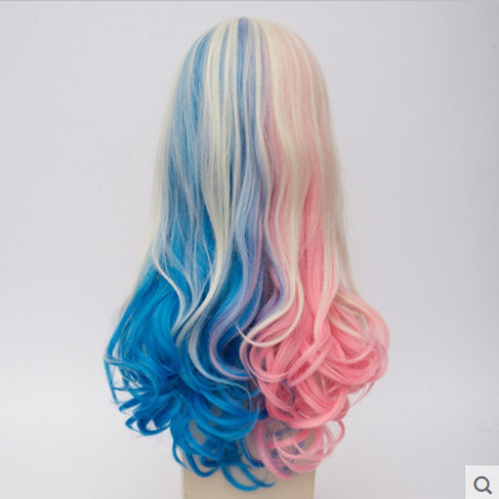 Sucide Harley Quinn Long Curly Wig Blonde Pink Blue Central Ombre Synthetic Cosplay Wigs +One Cap