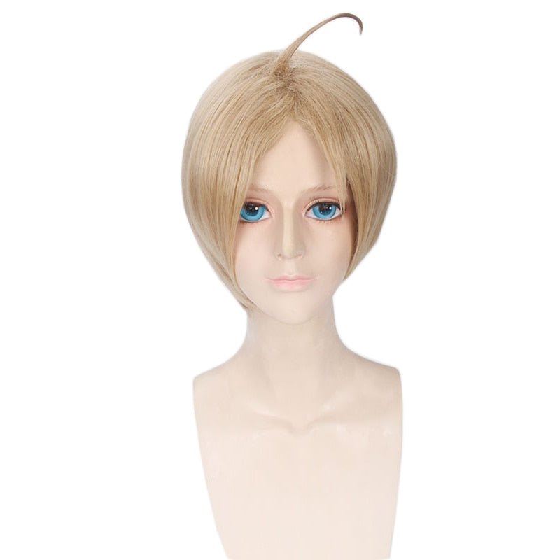 Hetalia APH Axis Powers America Alfred F Jones Short Wig Blonde Anime Men Synthetic Hair