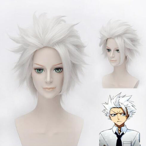 Hitsugaya Toushirou BLEACH Short Silver Grey Wig Fluffy Layered Synthetic Hair + Wig Cap