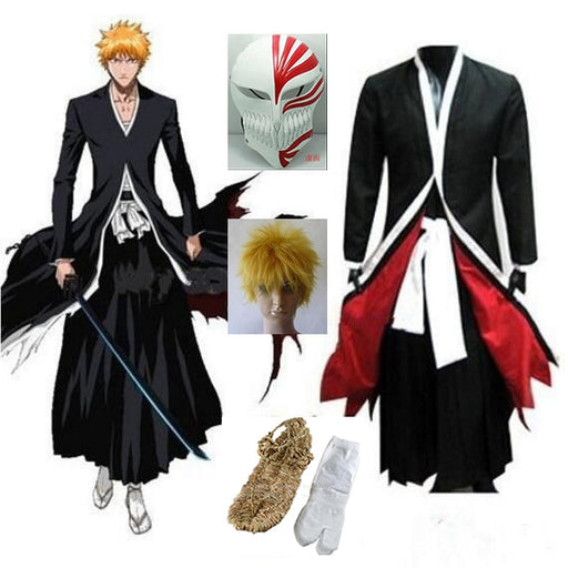 Ichigo Kurosaki Bankai Hollow Bleach Cosplay Mask Wig Men Halloween Cosplay Costume