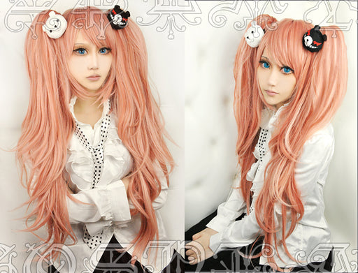 Enoshima Junko Anime Dangan Ronpa Long Wig Ponytail Orange Pink Danganronpa Women Synthetic Hair+Hairnet