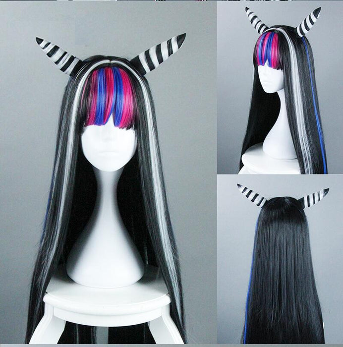 Mioda Ibuki Danganronpa 100cm Long Straight Wig Black White Mixed Anime Synthetic Hair+ Wig Cap