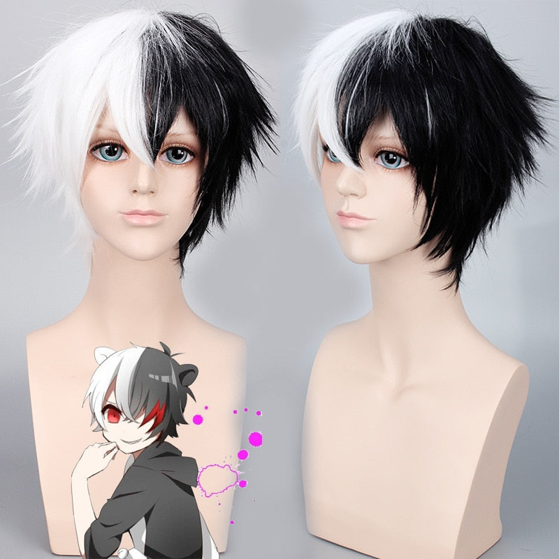 Monokuma Danganronpa Short Wig Black White Mixed Unisex Synthetic Hair
