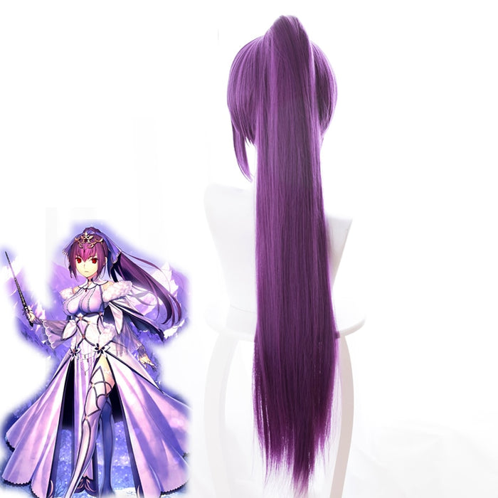 FGO Fate Grand Order Wig Scathach 80cm Long Straight Wig Purple Pigtail
