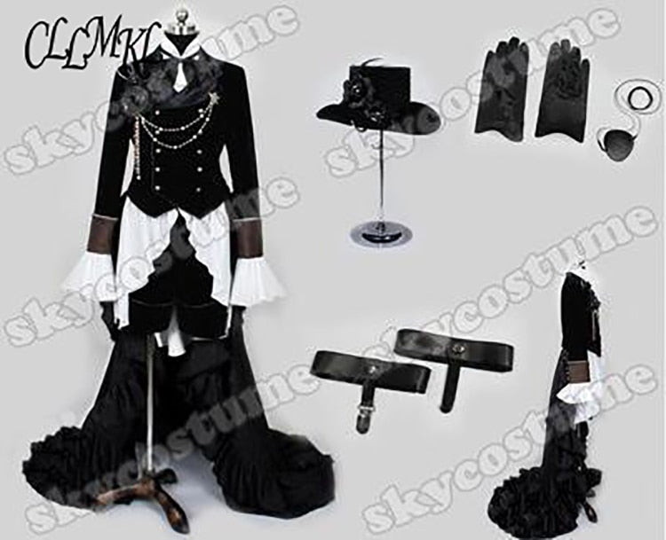 Anime Kuroshitsuji Black Butler Ciel Phantomhive Party Dress Cosplay Full Set Customized