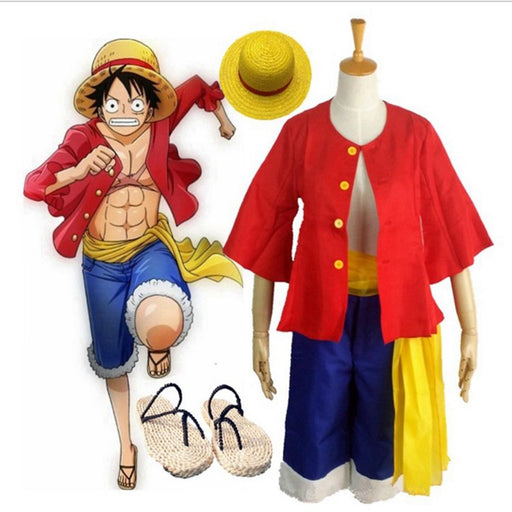Monkey D Luffy One Piece Costume Coat Pants Sandals Hats