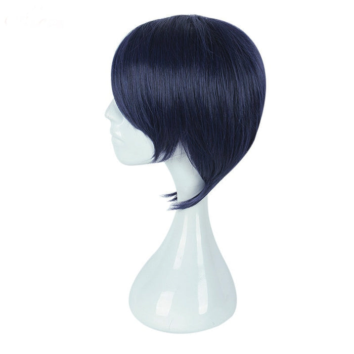 Yusuke Kitagawa Persona 5 Short Straight Wig Dark Blue Cosplay Costume Men Short Hair