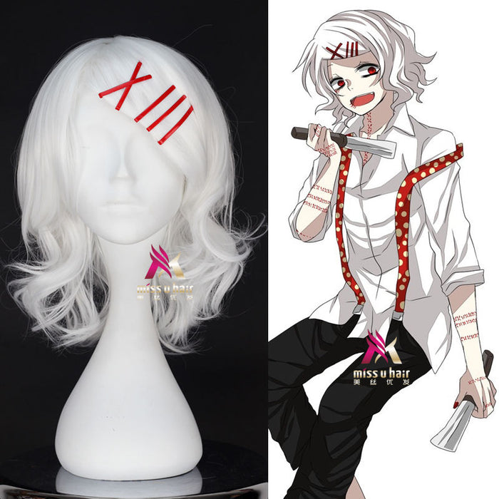 Anime Tokyo Ghoul Juzo Suzuya Juuzou Pure White Heat Resistant Cosplay Costume Wig + 5 Red Hairpins+wig cap