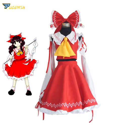 Hakurei Reimu Touhou Project Cosplay Costume Lolita Dress Halloween Costume Free Shipping