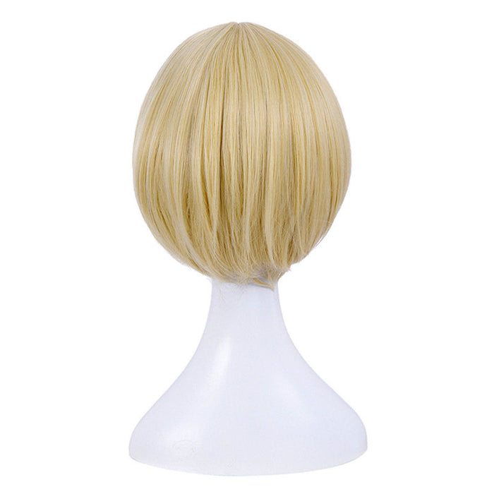 Anime YURI!!! on ICE Yuri Plisetsky Yellow Short Straight Wig Cosplay Costume Men Women Synthetic Hair