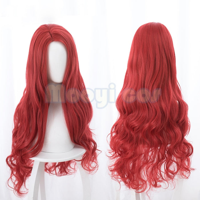 Aquaman Mera Cosplay Wig American Anime Movie 85cm Long Curly Wavy Wig Red Synthetic Hair Women