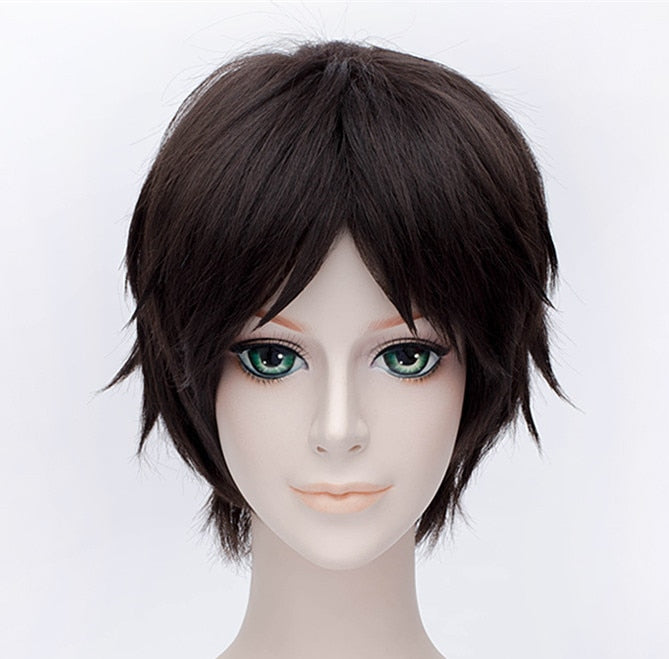 Eren Jaeger Attack on Titan Short Wig Dark Brown Men's Synthetic Hair + Free Wig cap