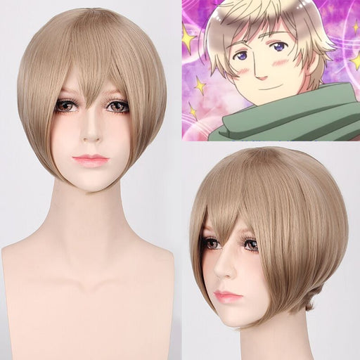 Axis Powers Hetalia APH Russia Ivan Braginsky Short Straight Wig Ash Blonde Synthetic Hair
