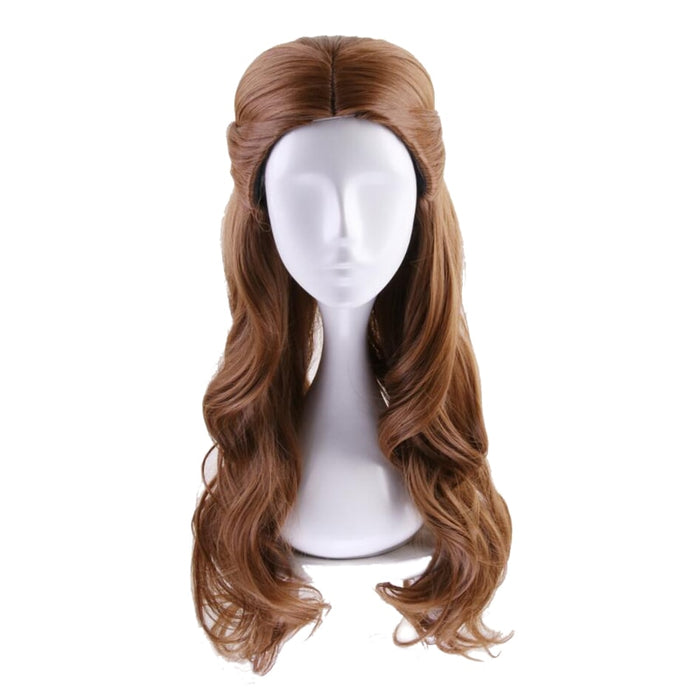 Beauty and the Beast Princess Belle Long Wavy Wig Brown Cosplay Costume Women