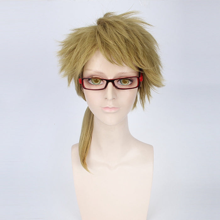 Doppo Kunikida Stray Dogs Wig Fluffy Medium Wigs Light Brown Synthetic Hair Anime Ponytail