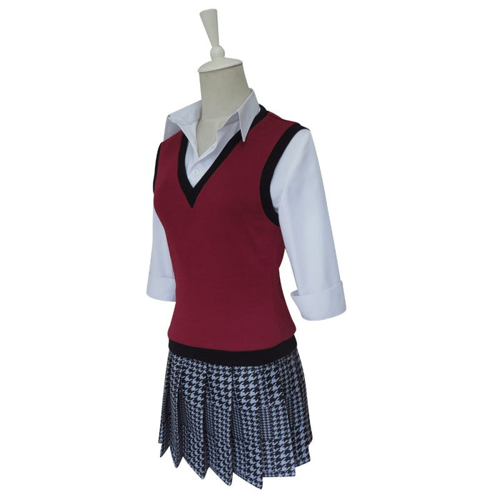 Kakegurui Midari Ikishima Cosplay School Girls Uniforms With Eye Mask&Socks , Wigs For Halloween Party