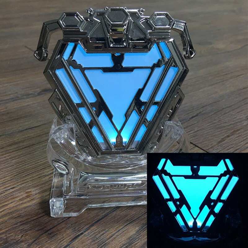 Superhero Iron Man Tony Stark Heart Arc Reactor Metal LED Light Unisex Halloween Avengers Endgame Cosplay Props Accessories