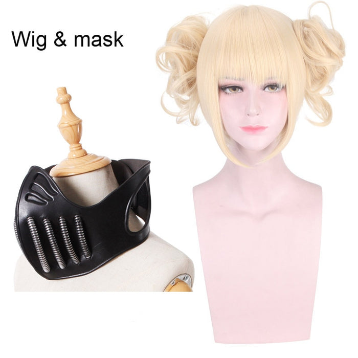 Himiko Toga My Hero Academia Boku no Short Wig Blonde Mask Cosplay Props Accessories
