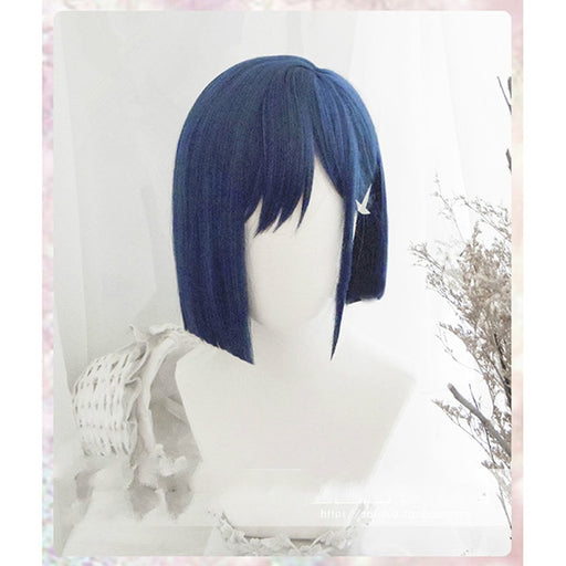 DARLING in the FRANXX 24cm Short Straight Wig 015 Cosplay Ichigo Blue Synthetic Hair Perucas + wig cap