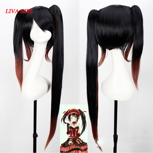 Tokisaki Kurumi DATE A LIVE Long Wig Black Brown Gradient Sexy Synthetic Hair Cosplay Wigs