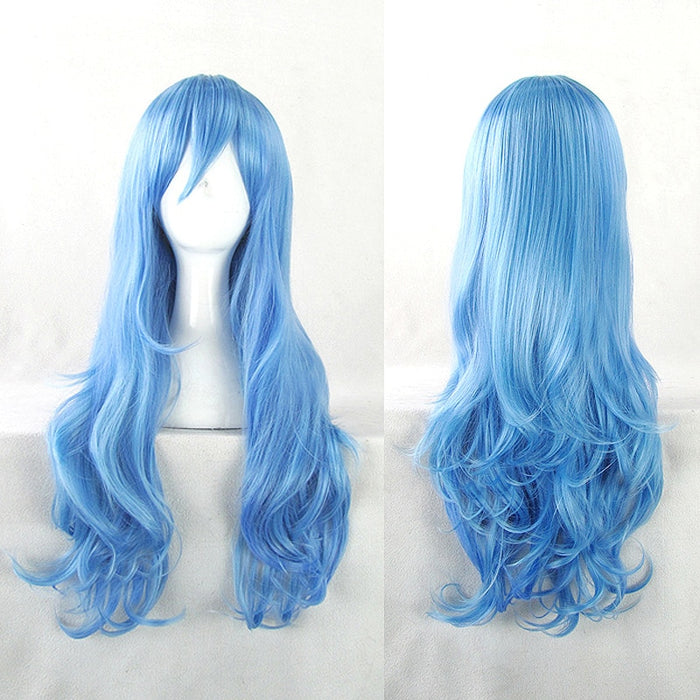 Yoshino DATE A LIVE Cosplay Wigs Role Play 70cm Long Curly Wavy Blue Synthetic Hair for Adult+Hairnet