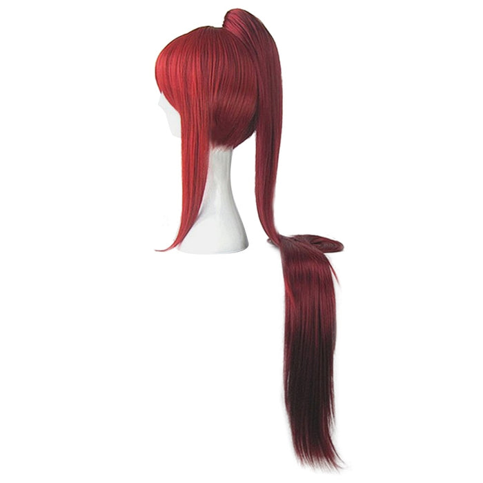 FAIRY TAIL Erza Scarlet 100CM Long Deep Red Cosplay Wig + 1 ponytail +Wig Cap