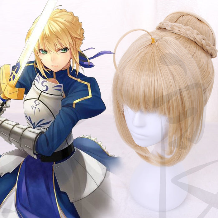 Fate/Stay Night Fate/Grand Order Saber Short Wig Blonde Pigtail Hair Bun