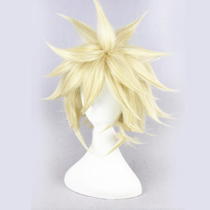 Cloud Strife Final Fantasy VII  Men's Short Blonde Fluffy Layered Straight Synthetic Hair Cosplay Wigs FF7+Wig Cap