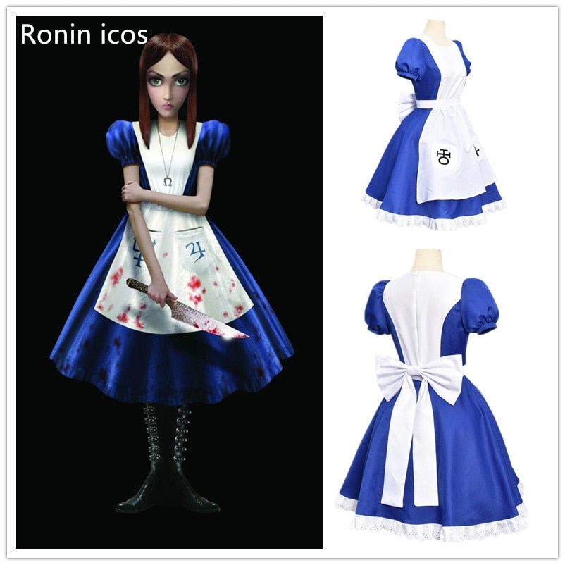 Game Alice Madness Returns Cosplay Costume Princess Dress Maid Dress