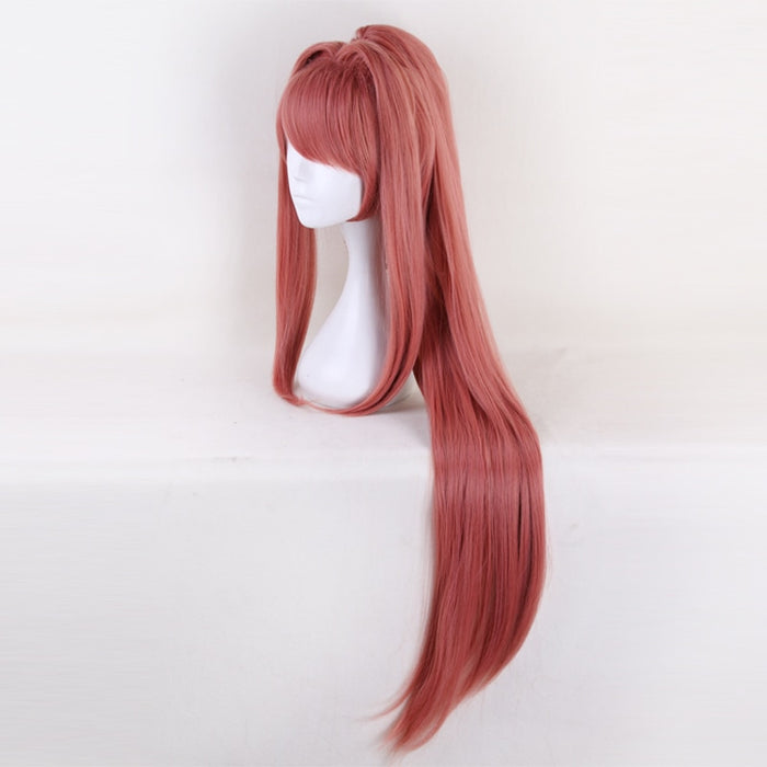 Monika Game Doki Doki Literature Club Ponytail Long Wig Pink Cosplay Costume Women Long Synthetic Hair