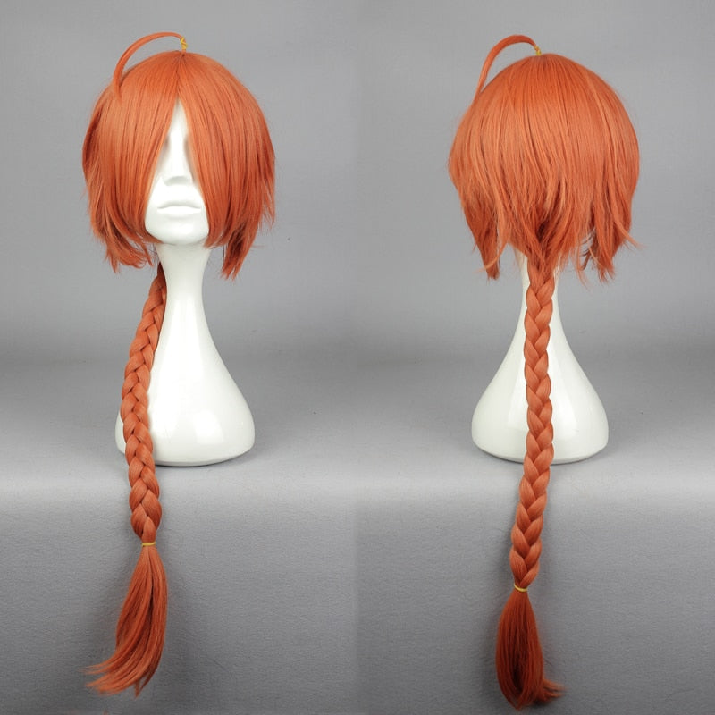 Kamui Gintama Red Long Braids Long Wig Pigtail Orange Synthetic Hair