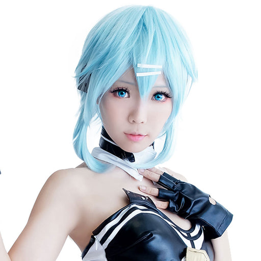 Sinon/Asada Shino Sword Art Online 40cm Short Wig Ice Blue Cosplay Costume Play Halloween party