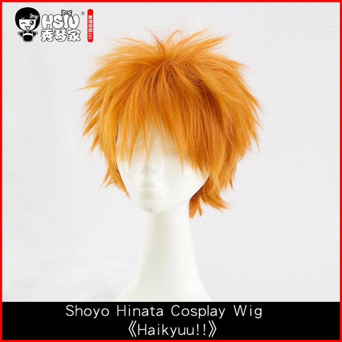 Short Wig Orange Anime Haikyuu!! Shoyo Hinata Costume Play Halloween