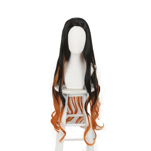 Kamado Nezuko Demon Slayer Kimetsu no Yaiba Long Curly Wig Cosplay Costume Wigs