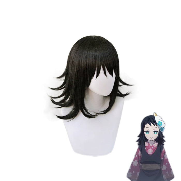 Makomo Demon Slayer Kimetsu no Yaiba Black Wig Cosplay Wigs