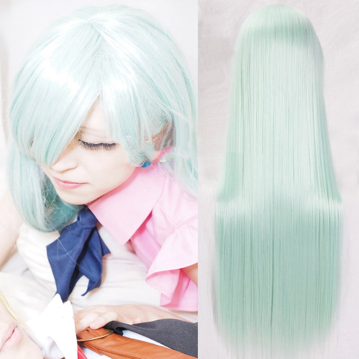 80cm Long Wig Light Green Women Synthetic Hair The Seven Deadly Sins Cosplay Wigs Elizabeth Liones Wigs Perucas Cosplay