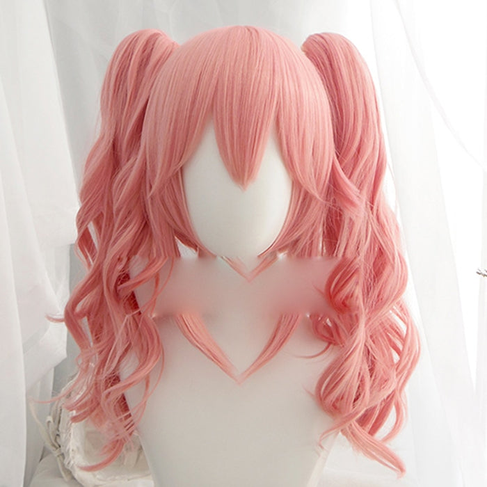 Tamamo no Mae Japanese Fate/EXTRA Cosplay Long Wavy Wig Pink Synthetic Hair Perucas +wig cao