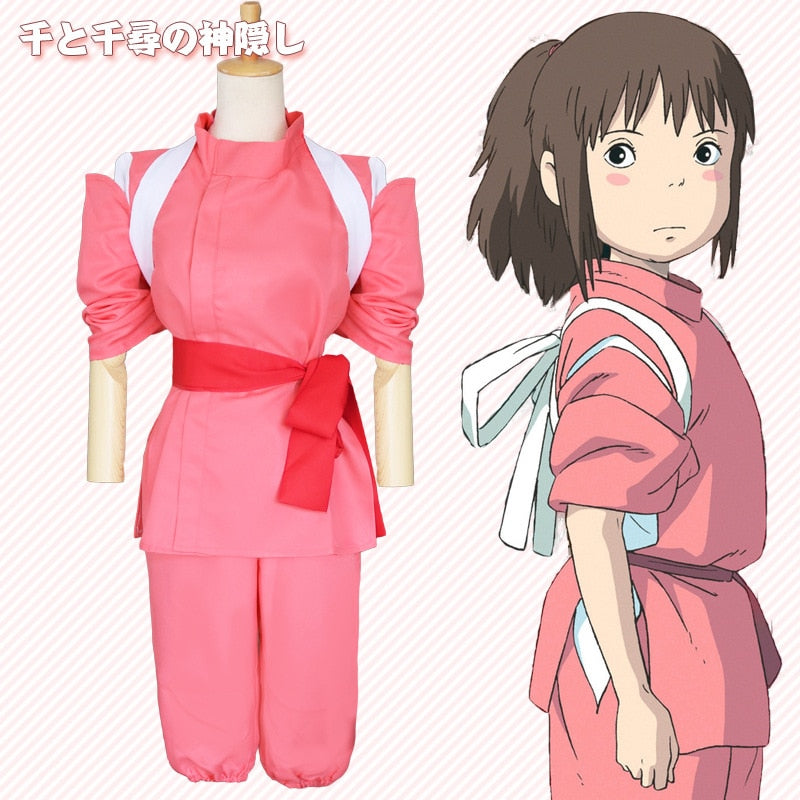 Japenese Style Anime Spirited Away Cosplay Suits Takino Chihiro Show Cosplay Costume Kamikakushi Girls Pink Kimono Sets