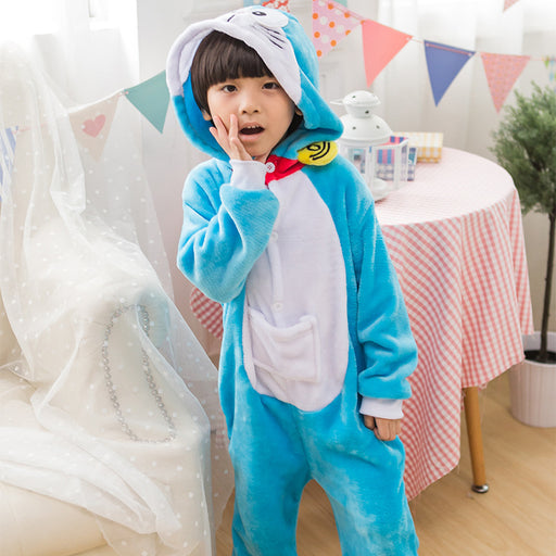 Kid's Kugurumi One Piece Animal doraemon Cosplay Costume Flannel Whole Pajama Winter Unisex