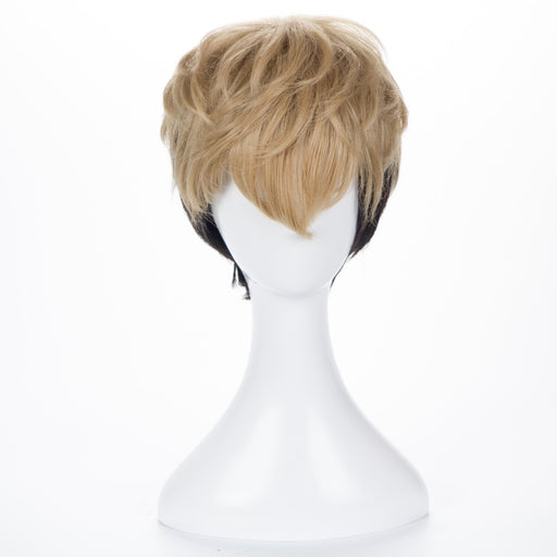 Killing Stalking SangWoo Short Linen Black Blonde Ombre Cosplay Costume Wig+Wig Cap