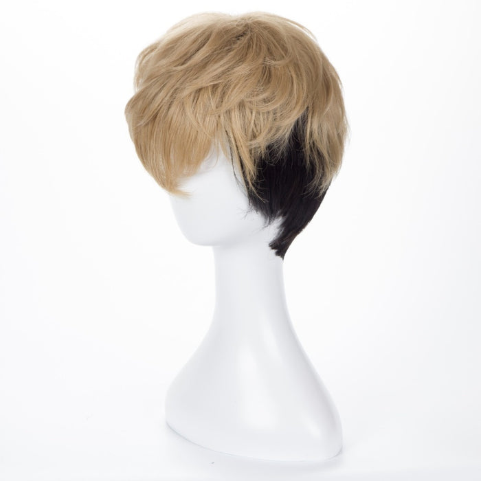 Killing Stalking SangWoo Short Linen Black Ombre Cosplay Costume Wig+Wig Cap