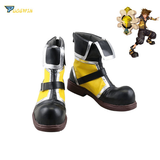 Sora Kingdom Hearts Yellow Cosplay Boots Shoes Custom Made