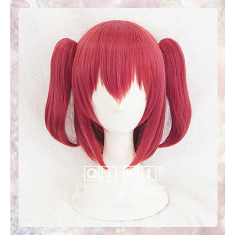 Kurosawa Ruby Love Live! Cosplay Medium Straight Wig Ponytail Pink Sunshine!! Costume Play Hair+ hairnet