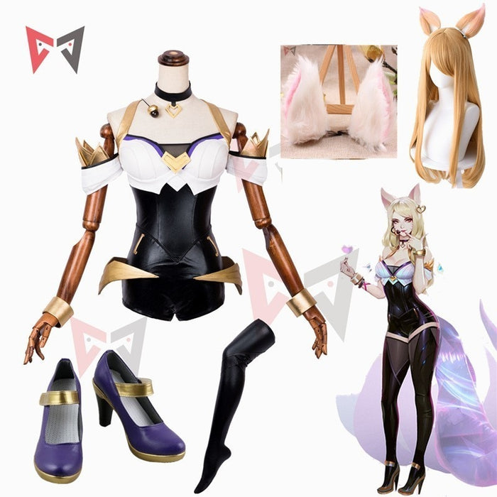 LOL Ahri Cosplay Costume KDA Group Jumpsuit Stockings Wig Ears Shoes