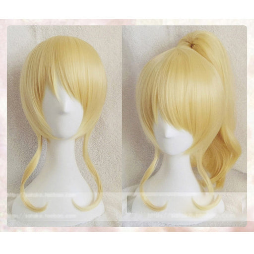 Eli Ayase Love Live Medium Curly Golden Synthetic Cosplay Wig Hair With One Chip Ponytail