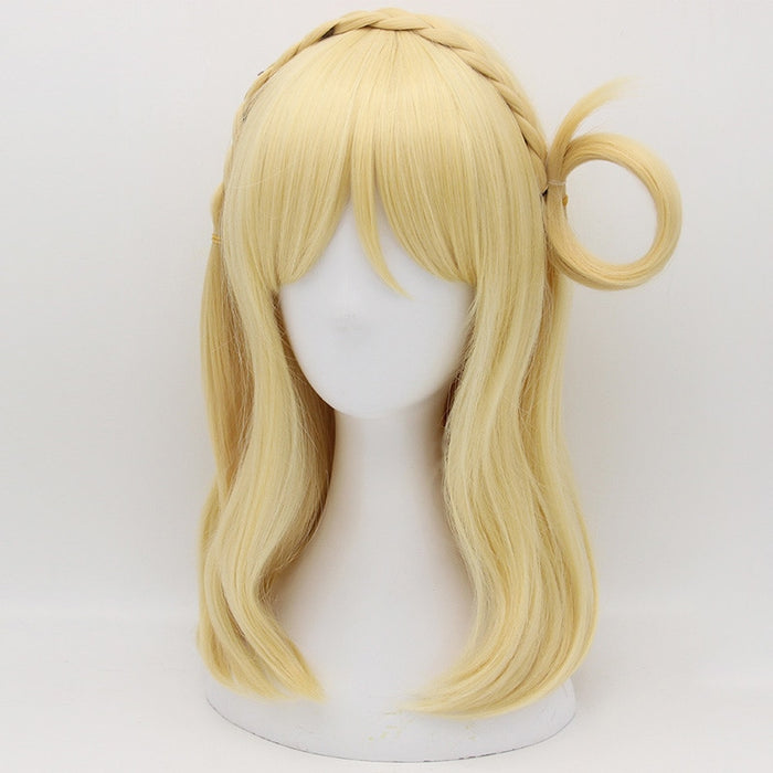 Mari Ohara LoveLive! Sunshine Medium Straight Wig Golden Cosplay Costume Aqours Women Synthetic Hair