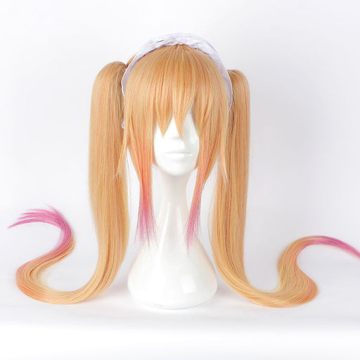 Miss Kobayashi's Dragon Maid Tohru Yellow Pink Mixed Long Straight Wig Ponytail Gradient Anime 110cm Costume Cosplay